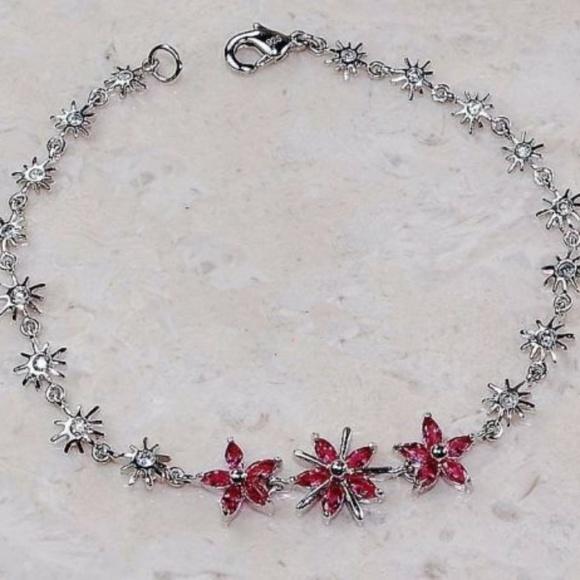 eye4jewelry Other - Silver sun bursts with Ruby & White Topaz Bracelet